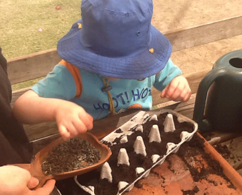 Image of a little girl planting seeds