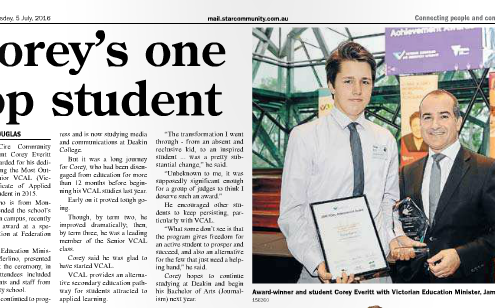 James Morlino presenting Corey Everett the award for Most Outstanding Senior VCAL Student 2015 at Federation Square in Melbourne