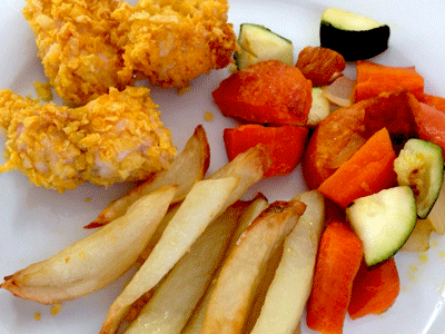 UYCH Kitchen Skills - roast veggies and corn flake coated chicken
