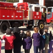 Image of the Yarra Junction Kindergarten kids at the Hillcrest Fire Station