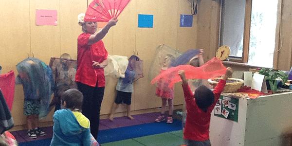 Kinder class enjoying dance