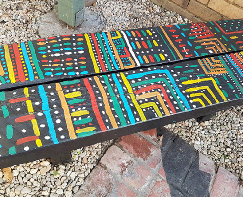 Aboriginal Art inspired seats